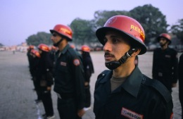 Rescuers on parade, Lahore