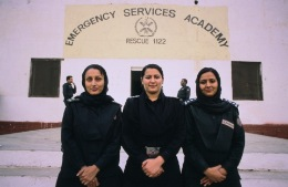 Tahira Khan (centre) and colleagues, Lahore